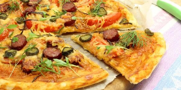 Пицца на слоеном дрожжевом тесте