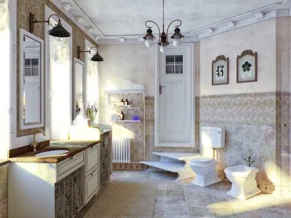 Потолок в ванной в стиле прованс