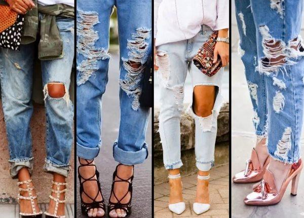 Примеры рваных джинсов