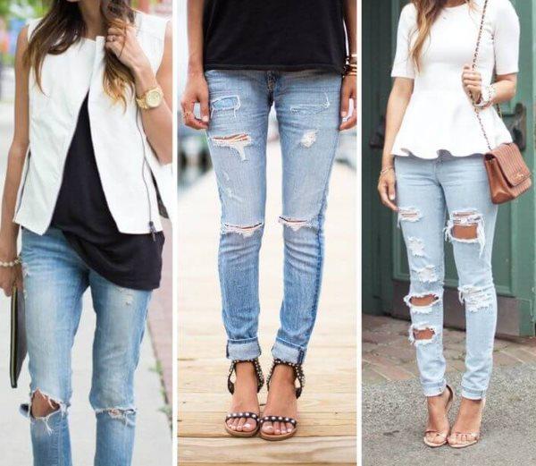 Варианты рваных джинс