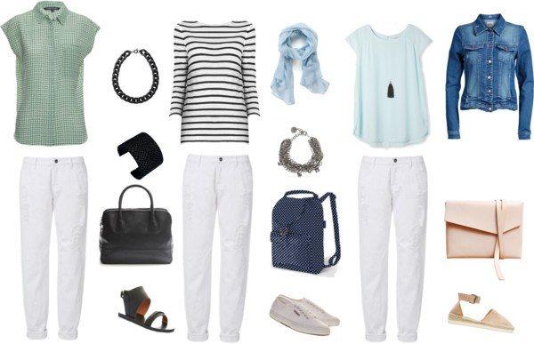 Луки для белых джинсов