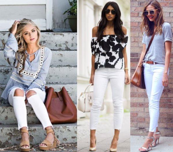 Красивые белые джинсы