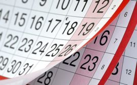 Даты выходных на календаре