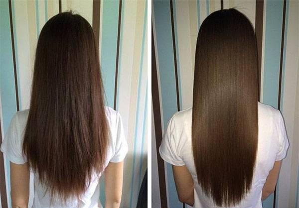 Темные волосы после процедуры