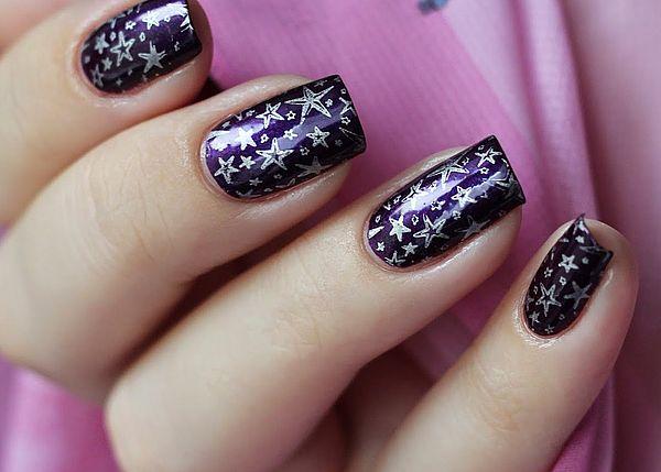 фиолетовое покрытие со звездами