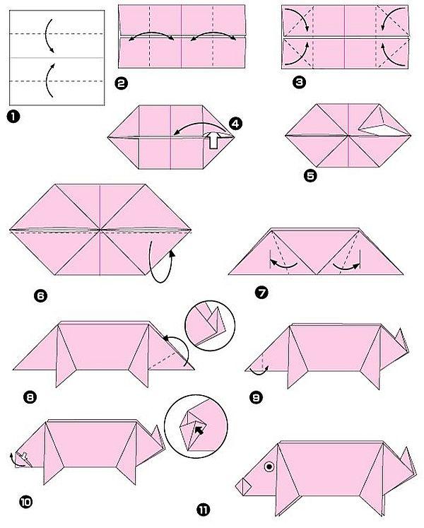 свинка из бумаги в технике оригами