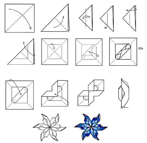 Схема для снежинки оригами