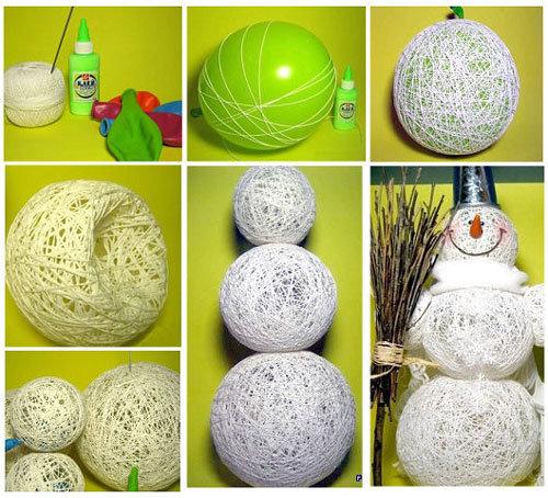 Снеговик из ниток и шариков