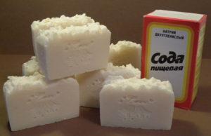 Сода и мыло для изготовления смывки