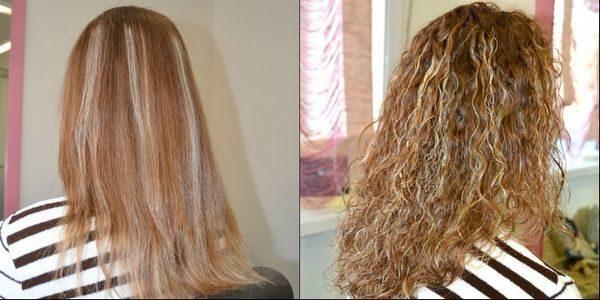 До и после химической завивки