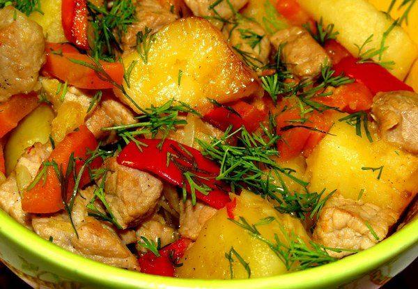 Жаркое с овощами и мясом