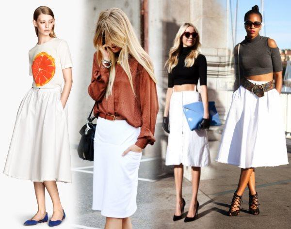 Варианты ношения белой юбки
