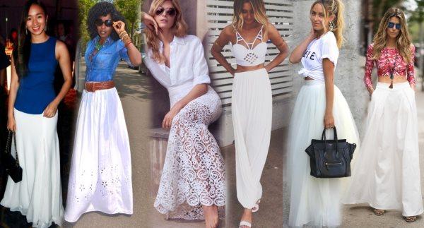 Длинные белые юбки