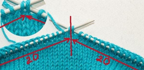 Продолжение вязания