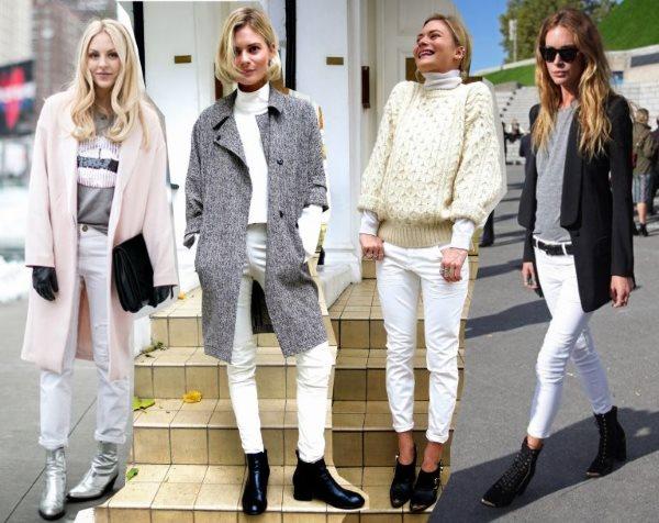 Белые джинсы с чем носить