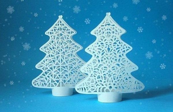 Белые фигурные елки