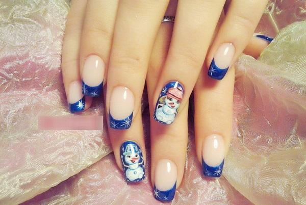 Ногти со снеговиком