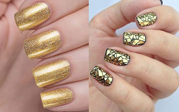 золотые оттенки на ногтях
