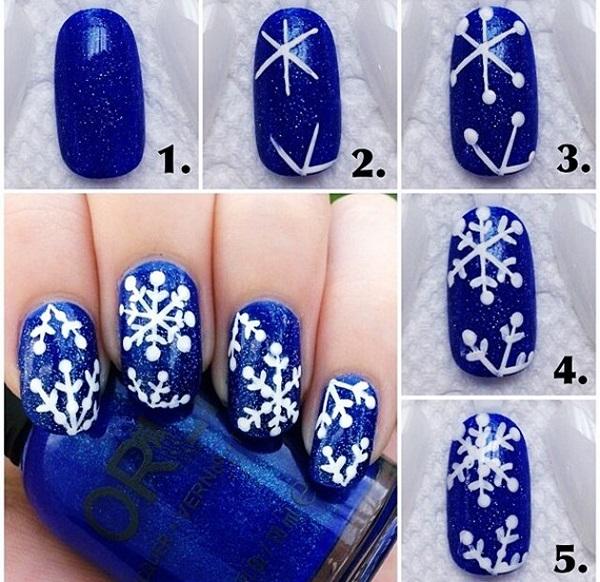 Рисование снежинок на ногтях