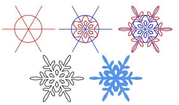 Схема рисования снежинки