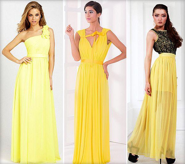 фасоны желтых платьев