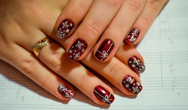 Зимний дизайн ногтей с гель-лаком