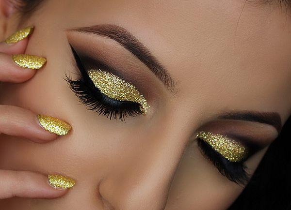 макияж в золотых тонах