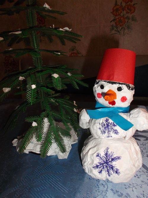 Готовый снеговик из бумаги