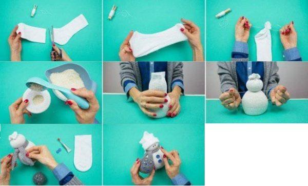 Изготовление снеговика из носка