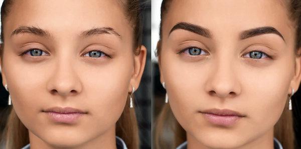 Фото до и после биотатуажа бровей
