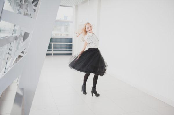 Стильная черная юбка