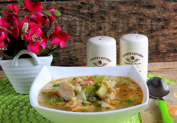 Суп из семги и пшена